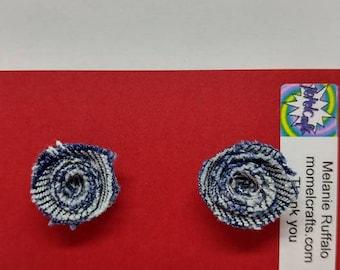 Demin Jean Rose Post Earrings
