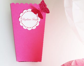 Pop corn or candies for party paper-custom - fucshia pink table box + sequin Butterfly