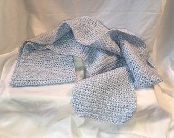 Blue Silk Crochet Scarf