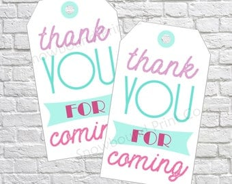 Thank you for coming Favor Tags, Birthday gift tags, Thank you tags, thank you gift tags, pink, purple, party gift tags, PRINTABLE DIY