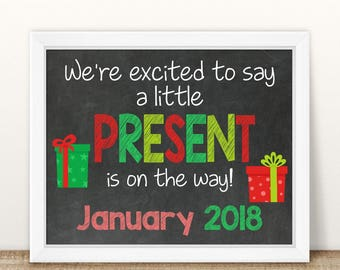 PRINTABLE Christmas Pregnancy Announcement, Little Present, We're expecting, Chalkboard Sign, Holiday Pregnancy, Pregnancy reveal