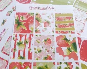 Strawberry Fields Collection  -  For Erin Condren Life Planner Happy Planner Plum Paper kikki k filofax planner stickers