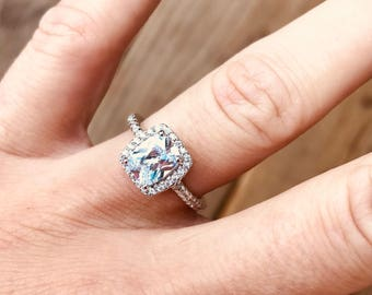 vintage white topaz diamonique zirconia bridalengagmentpromise ring - Diamonique Wedding Rings