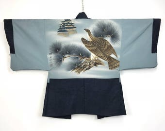 D983 Vintage Japanese Haori Kimono Mens Wool Cardigan Jacket Eagle
