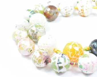 16mm/19mm Creme Pink Green Lace Agate Beads, Sold by 1 strand of 2pcs, 1mm hole opening, 91grams/pk, Pink lace agate,Agate Gemstones,Agate