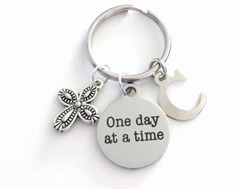 AA Keychain, Alcoholics Anonymous Key Chain, One Day at a Time Gift for Sponsor, Recovering Alcoholics Keyring Initial birthstone custom her