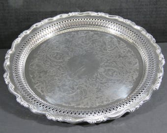 "Vintage Oneida 12"" Silver Plate Round Butler Serving Tray Platter Scroll Reticulated incised Pierced"