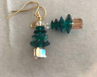 Swarovski Christmas Tree Earrings Large