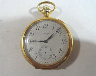 1919 American Waltham Pocket Watch 7 Jewel Running Parts or Repair Size 14 47mm