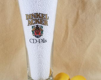 Pilsner Beer Glass ~ Dinkel Acker ~ CD-Pils ~ Weizenkrone Germany ~ Vintage Bar Ware ~ German Beer Glass ~ Seths Vintage Emporium