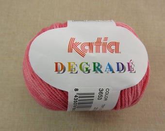 Fil Coton, Katia Degradé, pelote fil, dégradé rouge, pelote fils coton, travaux tricot , travaux crochet, coton layette, coton egypte katia
