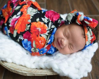 Elyse's Floral Newborn Swaddle Set | Bright Pink and Orange Floral Baby Girl Receiving Blanket | Soft Swaddle Blanket, Hat, Headband