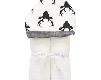 Hunter's Deer Hooded Towel | Full Size Toddler Hooded Towel | Deer in Black and White | Baby Shower Gift | Monogram Baby Shower Gift