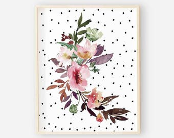 Dark Floral Nursery Digital Print | Girl Wall Art | Polka Dot Floral Wall Art | Floral Baby Girl Nursery Decor | Aubrey Floral 2