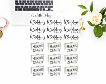 Planner Stickers, Wedding Date, Mr And Mrs, Bride And Groom, Wedding Bells, Celebration, Decorative Stickers