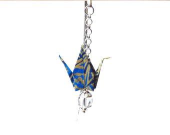 Origami bookmark, blue crane origami, japanese bookmark