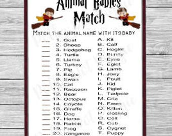 Wizard Kids Harry Potter Animal Babies Match Baby Shower Game   Instant  Digital Download
