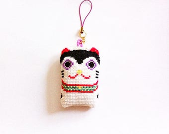 Handmade Inu-Hariko Strap-  Japanese Lucky Charm for an Easy Birth -  Cell Phone Strap - Cross Stitches