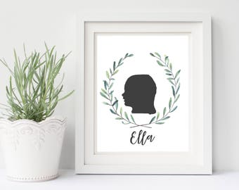 Custom Silhouette art, PRINTABLE childs silhouette art, Childrens silhouette portrait, 8.5x11 PRINTABLE silhouette
