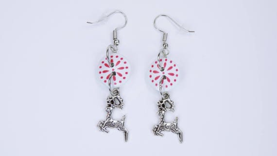 Earrings black and white deer Christmas earring pendant red-Silver stud earrings