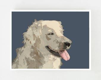 Digital Print Art, Watercolor Dog Portrait, Digital Download Art, Golden Retriever Art Print Dog Painting Instant Download Printable Art