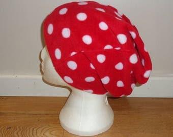 Red Polka Dot Polar Fleece Slouchy Hat - Beanie Hat - Slouch Hat - Winter Hat - Fleece Cap - Buff - Winter Headwear - Bobble Hat  Dreadlocks