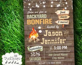 Backyard Bonfire Invitation, Printable bonfire Invitation, Rustic Wood party invite, A526