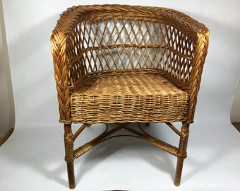 Childs Wicker Chair, 19u201d Natural Wicker And Wood Small Chair