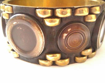 brass bangle with beading