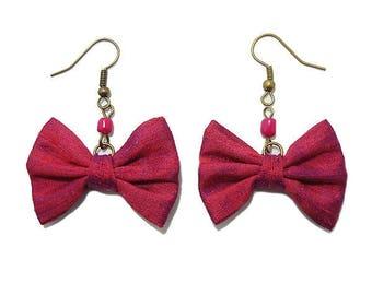 Bow tie silk Fuchsia pink earrings.