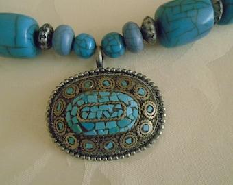 chunky beaded turquoise pendant