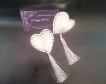 Heart nipple tassels, nipple pasties, wedding lingerie, diamontes, burlesque costume, lingerie accessories, strip tease outfit
