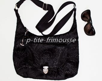 "Shoulder bag handbag adjustable black velvet ""Bangkok"" Paisley print."