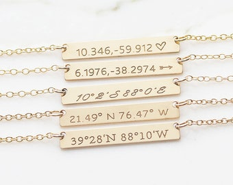 Personalized Coordinates Necklace, Customize Necklace, Bridesmaid Gift, Gift for her, Name Plate Necklace, handmade jewelry ( N OD 30x5)