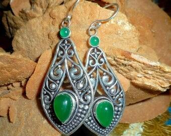 """""""Samsara"""" - silver, green agate earrings, 925 Silver - Al """"mineral beauty""""."""