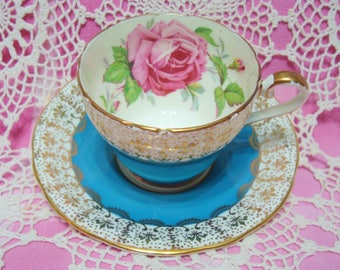 Beautiful Vintage Turquoise AYNSLEY with Fleur de Lis Filigree and Large Rose Cup & Saucer.