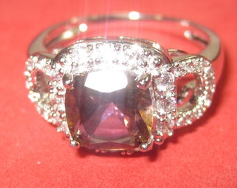 k-38  Beautiful Vintage Ring  925 silver size 8 citrine stone