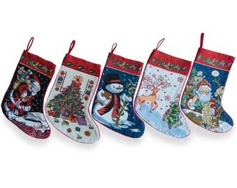 "18"" Set of 5 Santa, Snowman, Reindeer & Tree Christmas Stockings"