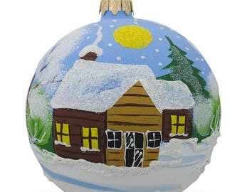 "4"" Winter Village Forest Scene Glass Ball Christmas Ornament"
