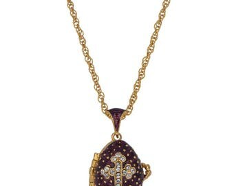 """19 Crystal Cross on Purple Royal Russian Faberge Egg Pendant Locket Necklace 22"""""""