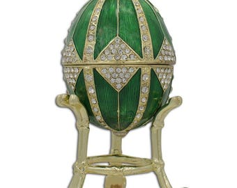 "3.15"" Crystal Rhombus on Green Enamel Faberge Inspired Easter Egg"