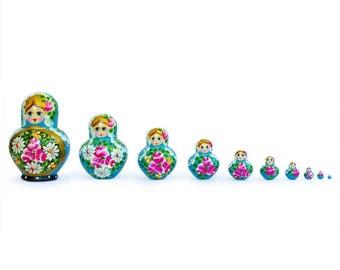 "6"" Set of 10 Blue Bouquet of Flowers Russian Nesting Dolls"