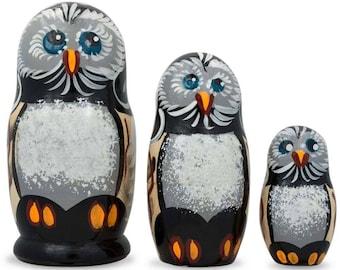 "4.25"" Set of 3 Owl Family Wooden Russian Nesting Dolls"