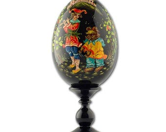 "6.25"" Joker with the Bear Collectible Wooden Russian Easter Egg"