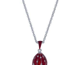 "24 Crystal Rain Drops Brass Royal Egg Pendant Necklace 22"""