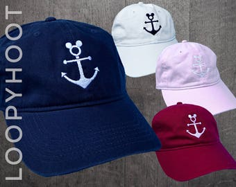 Disney Cruise Hat - Mouse Anchor Embroidered baseball cap, dad hat, in NAVY, WHITE, PINK or Chili - Ready to Ship!