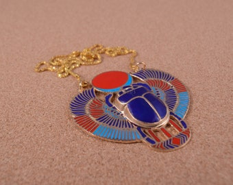 Ethnic Egyptian Brass Colored Enamelled Winged Scarab Necklace