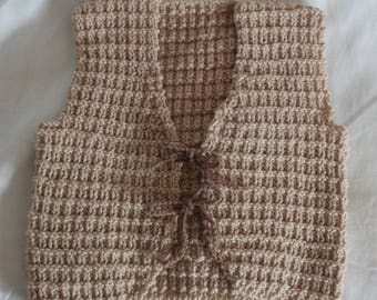 Sleeveless vest mixed beige baby