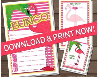 Printable Tropical Flamingo Bunco Set