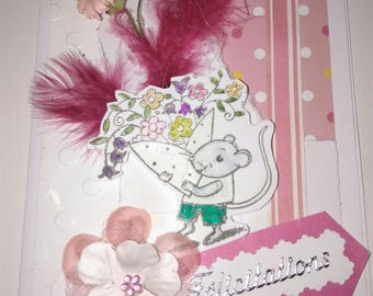 "congratulations card ""a mouse rose"""